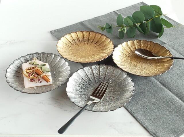 陶悦,菊割皿,菊皿,金,銀,シック